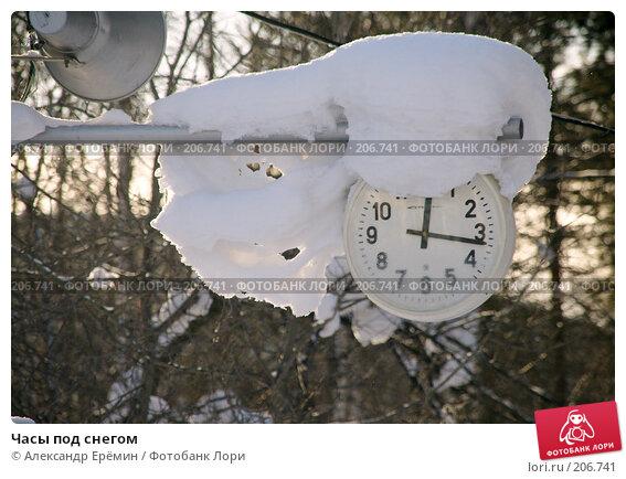 Купить «Часы под снегом», фото № 206741, снято 8 февраля 2008 г. (c) Александр Ерёмин / Фотобанк Лори