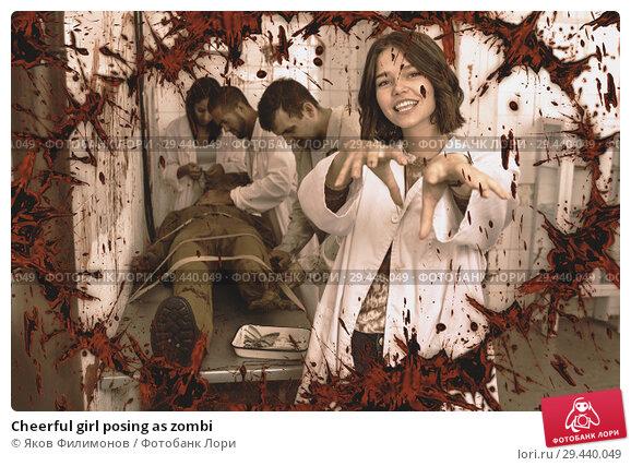 Купить «Cheerful girl posing as zombi», фото № 29440049, снято 8 октября 2018 г. (c) Яков Филимонов / Фотобанк Лори