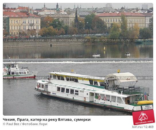 Чехия, Прага, катер на реку Влтава, сумерки, фото № 12469, снято 10 февраля 2006 г. (c) Paul Bee / Фотобанк Лори