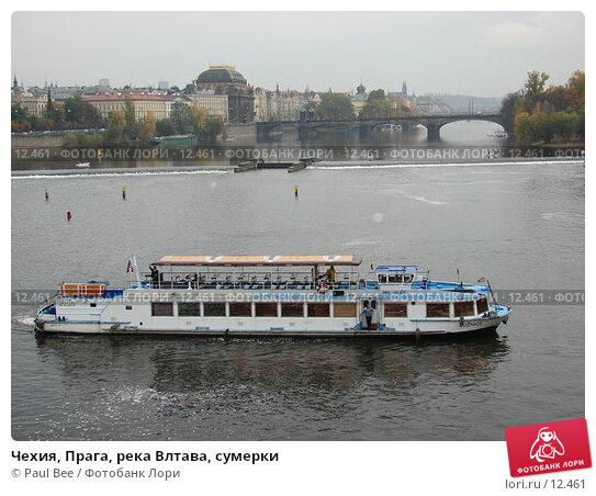 Чехия, Прага, река Влтава, сумерки, фото № 12461, снято 10 февраля 2006 г. (c) Paul Bee / Фотобанк Лори