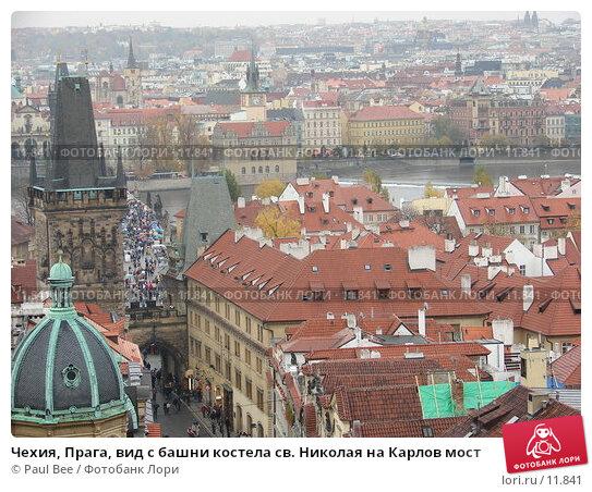 Чехия, Прага, вид с башни костела св. Николая на Карлов мост, фото № 11841, снято 10 февраля 2006 г. (c) Paul Bee / Фотобанк Лори