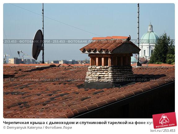Купить «Черепичная крыша с дымоходом и спутниковой тарелкой на фоне купола собора», фото № 253453, снято 16 апреля 2008 г. (c) Demyanyuk Kateryna / Фотобанк Лори