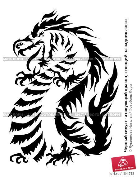 Черный силуэт - атакующий дракон, стоящий на задних лапах, иллюстрация № 184713 (c) Лукиянова Наталья / Фотобанк Лори