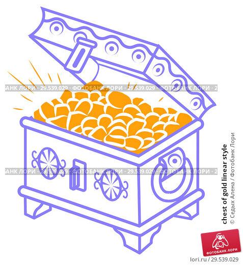 Купить «chest of gold linear style», иллюстрация № 29539029 (c) Седых Алена / Фотобанк Лори