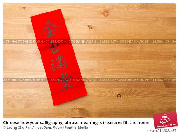 Купить «Chinese new year calligraphy, phrase meaning is treasures fill the home», фото № 11388437, снято 23 мая 2019 г. (c) PantherMedia / Фотобанк Лори