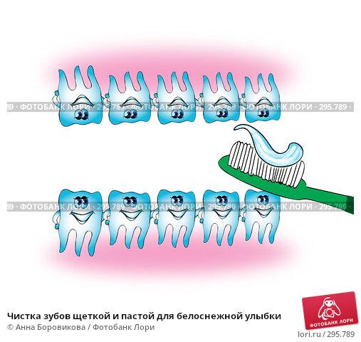 Чистка зубов щеткой и пастой для белоснежной улыбки, иллюстрация № 295789 (c) Анна Боровикова / Фотобанк Лори