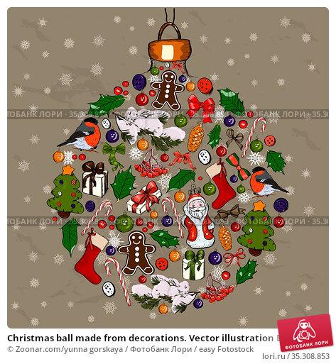 Christmas ball made from decorations. Vector illustration EPS10. Стоковое фото, фотограф Zoonar.com/yunna gorskaya / easy Fotostock / Фотобанк Лори