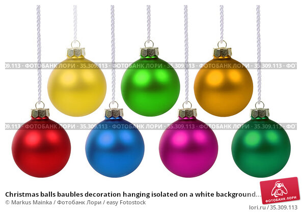 Christmas balls baubles decoration hanging isolated on a white background... Стоковое фото, фотограф Markus Mainka / easy Fotostock / Фотобанк Лори