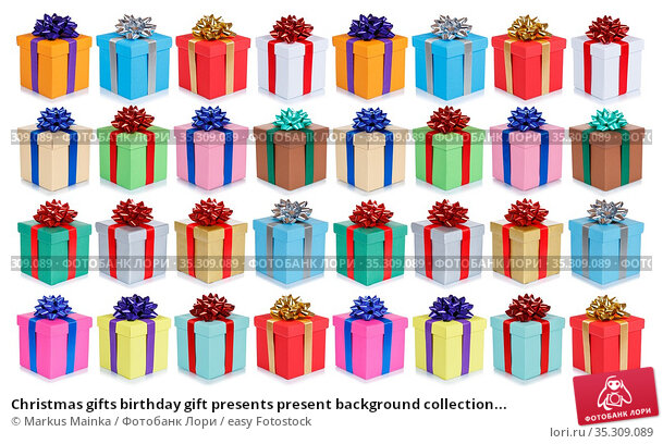 Christmas gifts birthday gift presents present background collection... Стоковое фото, фотограф Markus Mainka / easy Fotostock / Фотобанк Лори