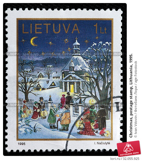 Christmas, postage stamp, Lithuania, 1995. (2011 год). Редакционное фото, фотограф Ivan Vdovin / age Fotostock / Фотобанк Лори