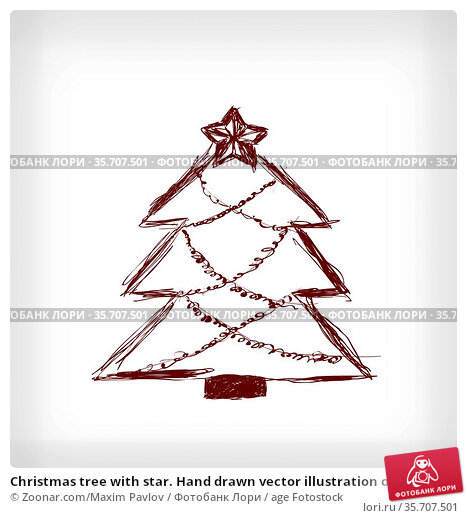 Christmas tree with star. Hand drawn vector illustration on light... Стоковое фото, фотограф Zoonar.com/Maxim Pavlov / age Fotostock / Фотобанк Лори