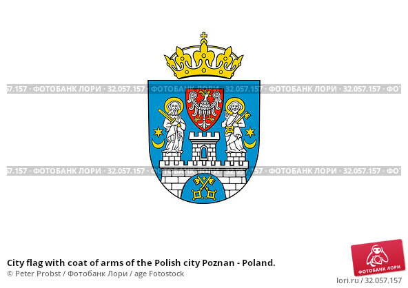 City flag with coat of arms of the Polish city Poznan - Poland. Стоковое фото, фотограф Peter Probst / age Fotostock / Фотобанк Лори