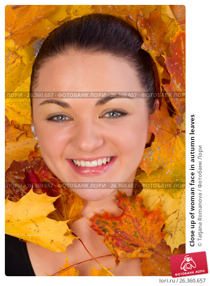 Close up of woman face in autumn leaves, фото № 26360657, снято 3 октября 2012 г. (c) Tatjana Romanova / Фотобанк Лори