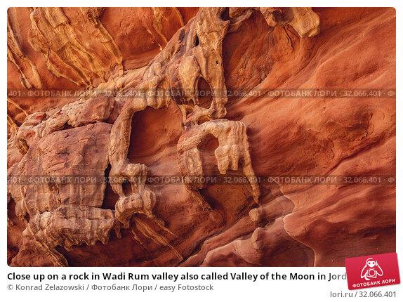 Close up on a rock in Wadi Rum valley also called Valley of the Moon in Jordan. Стоковое фото, фотограф Konrad Zelazowski / easy Fotostock / Фотобанк Лори