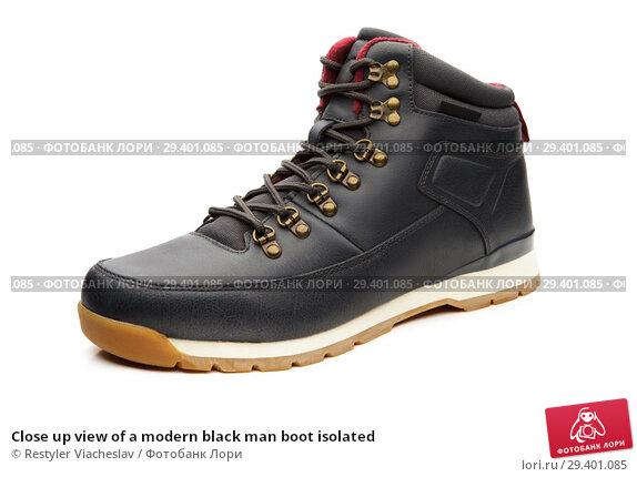 Купить «Close up view of a modern black man boot isolated», фото № 29401085, снято 9 ноября 2018 г. (c) Restyler Viacheslav / Фотобанк Лори