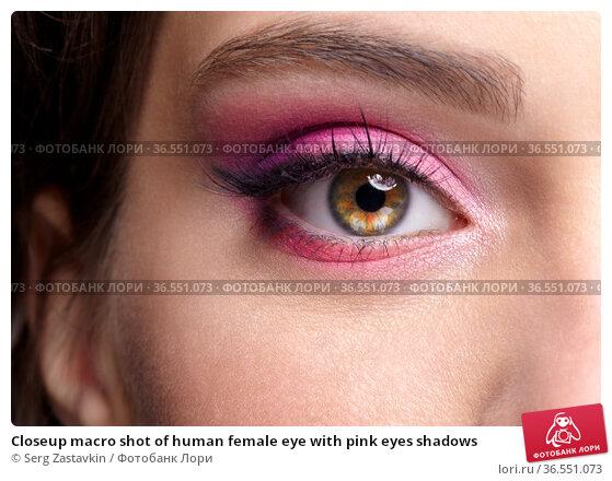 Closeup macro shot of human female eye with pink eyes shadows. Стоковое фото, фотограф Serg Zastavkin / Фотобанк Лори