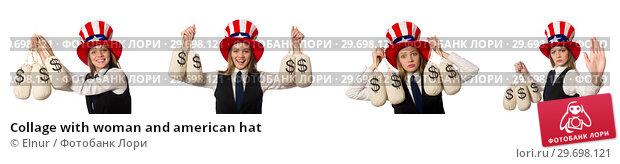 Купить «Collage with woman and american hat», фото № 29698121, снято 24 апреля 2019 г. (c) Elnur / Фотобанк Лори