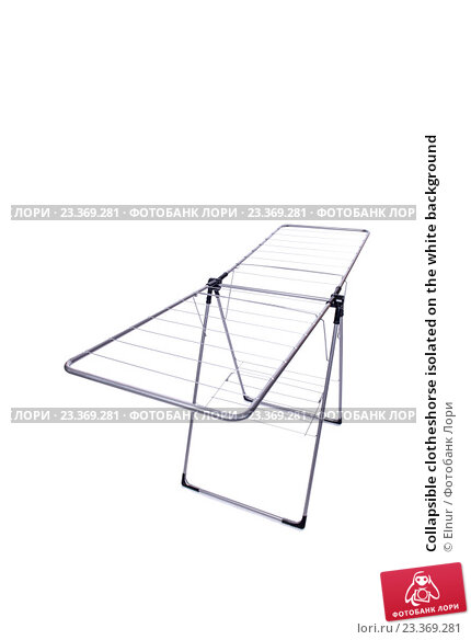 Купить «Collapsible clotheshorse isolated on the white background», фото № 23369281, снято 1 июня 2016 г. (c) Elnur / Фотобанк Лори