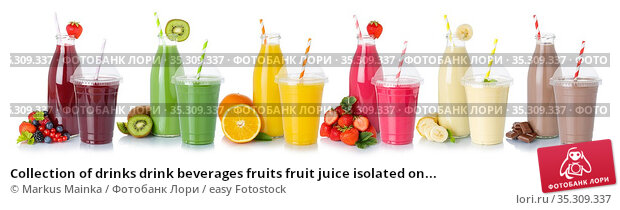 Collection of drinks drink beverages fruits fruit juice isolated on... Стоковое фото, фотограф Markus Mainka / easy Fotostock / Фотобанк Лори
