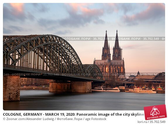 COLOGNE, GERMANY - MARCH 19, 2020: Panoramic image of the city skyline... Стоковое фото, фотограф Zoonar.com/Alexander Ludwig / age Fotostock / Фотобанк Лори