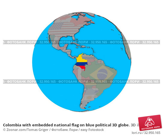 Colombia with embedded national flag on blue political 3D globe. 3D illustration isolated on white background. Стоковое фото, фотограф Zoonar.com/Tomas Griger / easy Fotostock / Фотобанк Лори