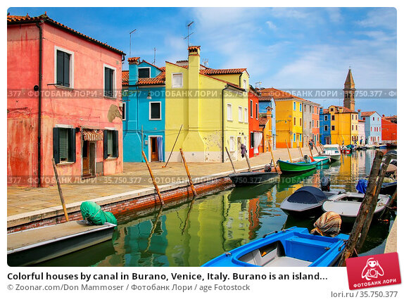 Colorful houses by canal in Burano, Venice, Italy. Burano is an island... Стоковое фото, фотограф Zoonar.com/Don Mammoser / age Fotostock / Фотобанк Лори