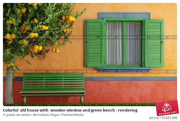 Colorful  old house with  wooden window and green bench - rendering. Стоковое фото, фотограф paolo de santis / PantherMedia / Фотобанк Лори