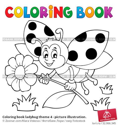 Coloring book ladybug theme 4 - picture illustration. Стоковое фото, фотограф Zoonar.com/Klara Viskova / easy Fotostock / Фотобанк Лори