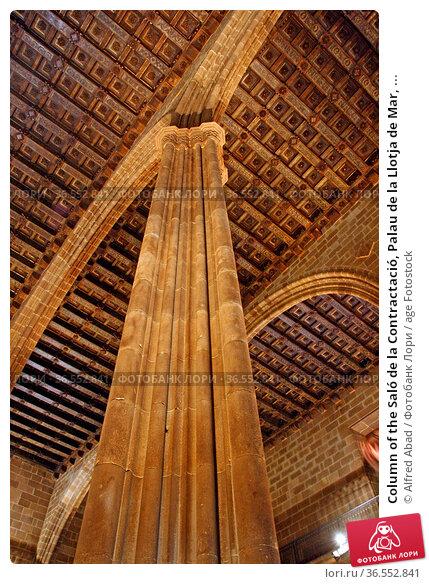 Column of the Saló de la Contractació, Palau de la Llotja de Mar, ... Редакционное фото, фотограф Alfred Abad / age Fotostock / Фотобанк Лори