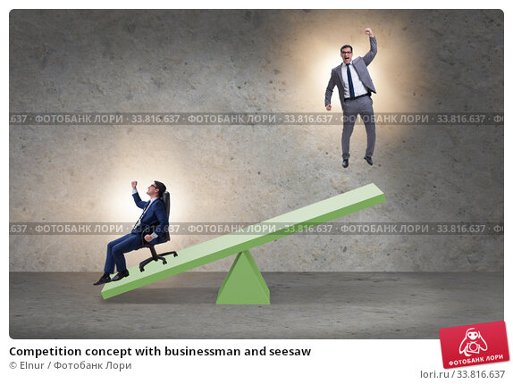Купить «Competition concept with businessman and seesaw», фото № 33816637, снято 2 июля 2020 г. (c) Elnur / Фотобанк Лори