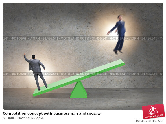 Competition concept with businessman and seesaw. Стоковое фото, фотограф Elnur / Фотобанк Лори