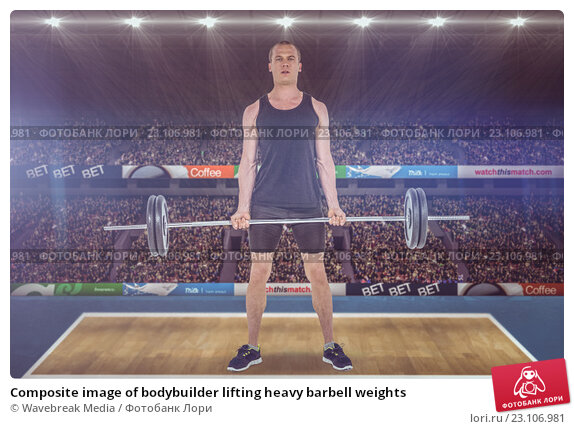Купить «Composite image of bodybuilder lifting heavy barbell weights», фото № 23106981, снято 23 апреля 2019 г. (c) Wavebreak Media / Фотобанк Лори