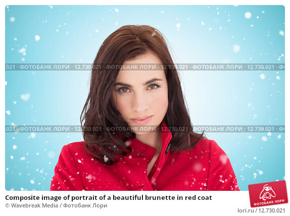 Купить «Composite image of portrait of a beautiful brunette in red coat», фото № 12730021, снято 23 февраля 2019 г. (c) Wavebreak Media / Фотобанк Лори