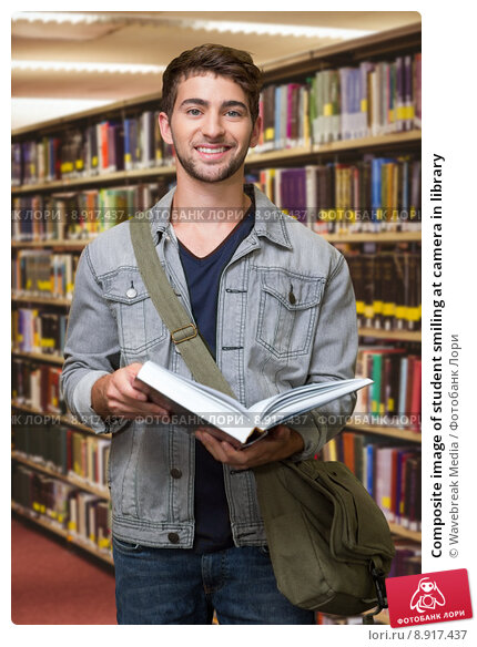 Купить «Composite image of student smiling at camera in library», фото № 8917437, снято 19 марта 2019 г. (c) Wavebreak Media / Фотобанк Лори