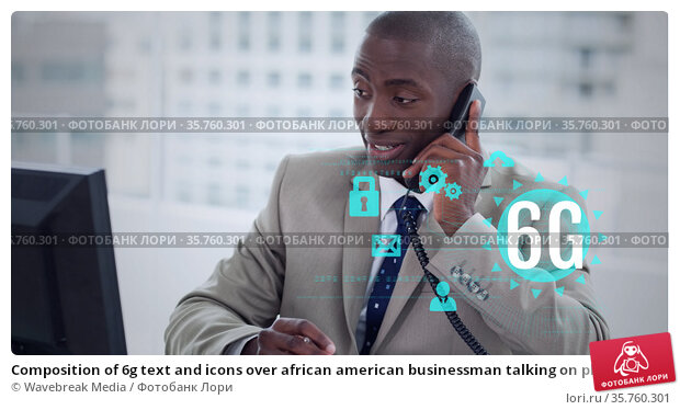 Composition of 6g text and icons over african american businessman talking on phone in office. Стоковое фото, агентство Wavebreak Media / Фотобанк Лори