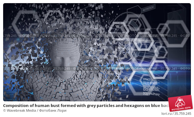 Composition of human bust formed with grey particles and hexagons on blue background. Стоковое фото, агентство Wavebreak Media / Фотобанк Лори