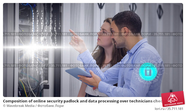 Composition of online security padlock and data processing over technicians checking computer server. Стоковое фото, агентство Wavebreak Media / Фотобанк Лори