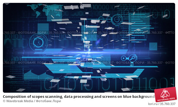 Composition of scopes scanning, data processing and screens on blue background. Стоковое фото, агентство Wavebreak Media / Фотобанк Лори