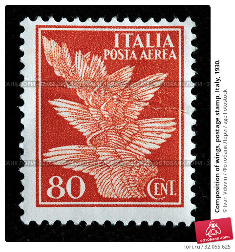 Composition of wings, postage stamp, Italy, 1930. (2010 год). Редакционное фото, фотограф Ivan Vdovin / age Fotostock / Фотобанк Лори