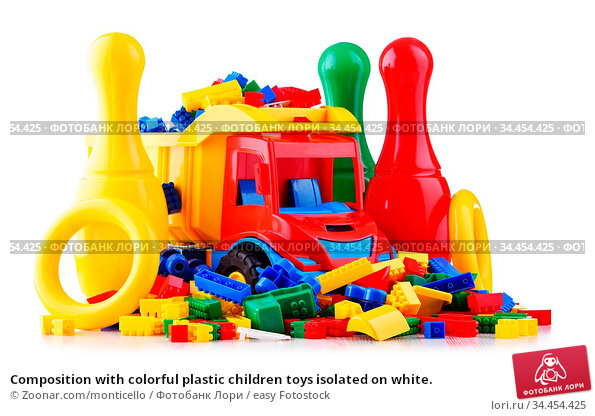 Composition with colorful plastic children toys isolated on white. Стоковое фото, фотограф Zoonar.com/monticello / easy Fotostock / Фотобанк Лори