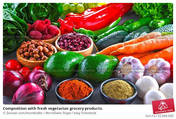 Купить «Composition with fresh vegetarian grocery products.», фото № 32543033, снято 9 декабря 2019 г. (c) easy Fotostock / Фотобанк Лори