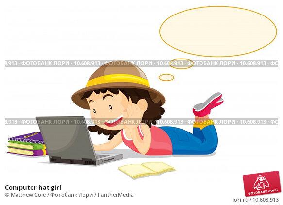 Computer hat girl. Стоковая иллюстрация, иллюстратор Matthew Cole / PantherMedia / Фотобанк Лори