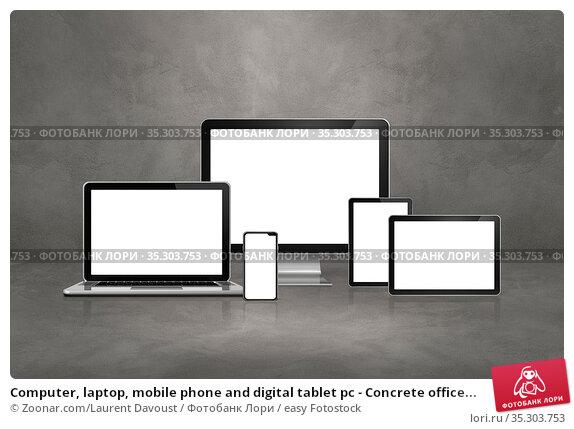 Computer, laptop, mobile phone and digital tablet pc - Concrete office... Стоковое фото, фотограф Zoonar.com/Laurent Davoust / easy Fotostock / Фотобанк Лори