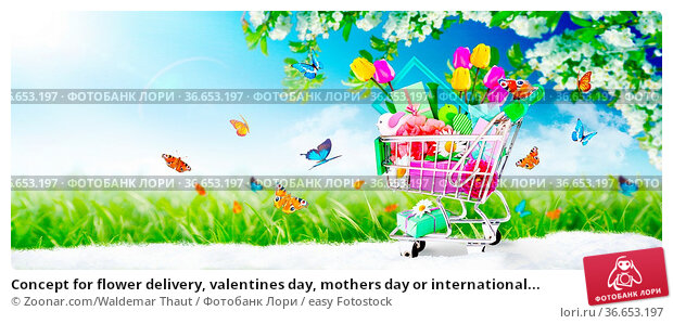 Concept for flower delivery, valentines day, mothers day or international... Стоковое фото, фотограф Zoonar.com/Waldemar Thaut / easy Fotostock / Фотобанк Лори