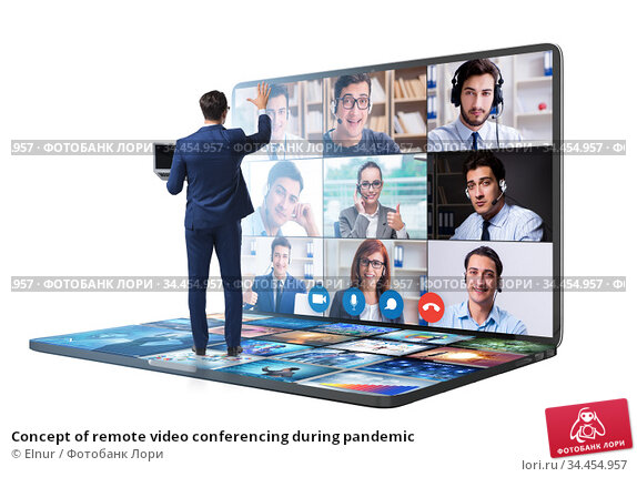 Concept of remote video conferencing during pandemic. Стоковое фото, фотограф Elnur / Фотобанк Лори