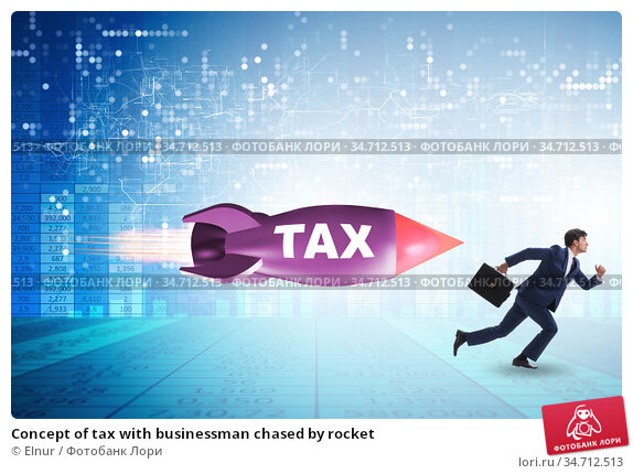 Concept of tax with businessman chased by rocket. Стоковое фото, фотограф Elnur / Фотобанк Лори