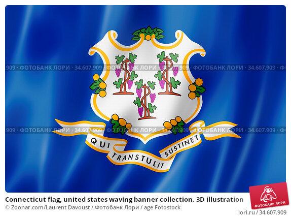 Connecticut flag, united states waving banner collection. 3D illustration. Стоковое фото, фотограф Zoonar.com/Laurent Davoust / age Fotostock / Фотобанк Лори