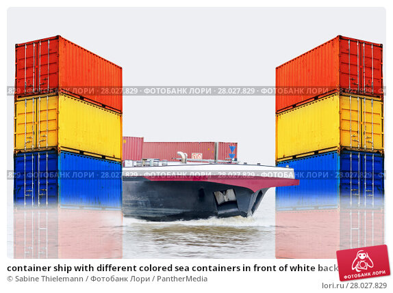 Купить «container ship with different colored sea containers in front of white background», фото № 28027829, снято 21 июня 2019 г. (c) PantherMedia / Фотобанк Лори
