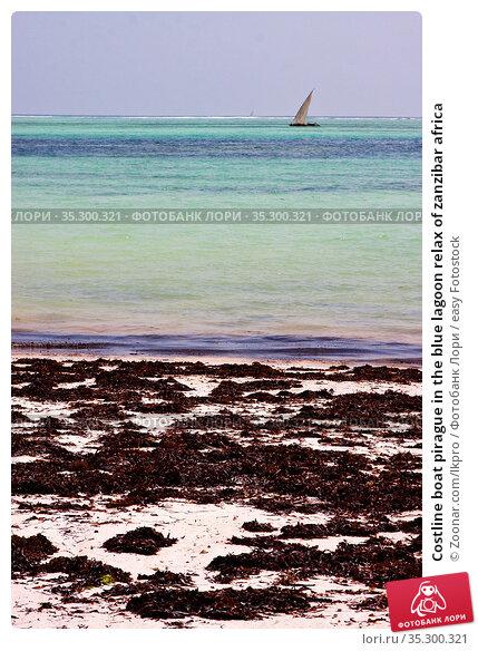 Costline boat pirague in the blue lagoon relax of zanzibar africa. Стоковое фото, фотограф Zoonar.com/lkpro / easy Fotostock / Фотобанк Лори