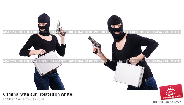 Criminal with gun isolated on white. Стоковое фото, фотограф Elnur / Фотобанк Лори